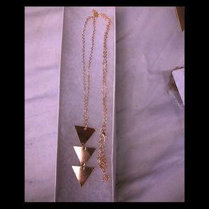 "Gold 3 Diamond shaped dangle necklace 30""L"